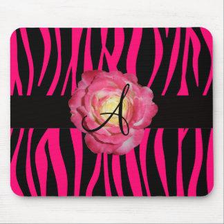 Heißes Rosa Zebra stripes rosa Rose des Monogramms Mousepad