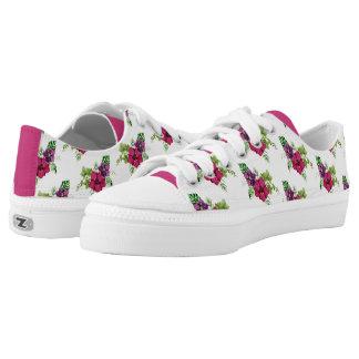 Heißes Rosalila grüner BlumenWatercolor Niedrig-geschnittene Sneaker
