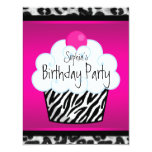 Heißes Rosazebra-Mädchen-Kuchen-Geburtstags-Party Individuelle Einladungskarte