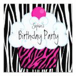 Heißes Rosazebra-Mädchen-Kuchen-Geburtstags-Party Ankündigungen