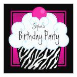Heißes Rosazebra-Mädchen-Kuchen-Geburtstags-Party Einladung
