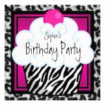 Heißes Rosazebra-Mädchen-Kuchen-Geburtstags-Party Ankündigung