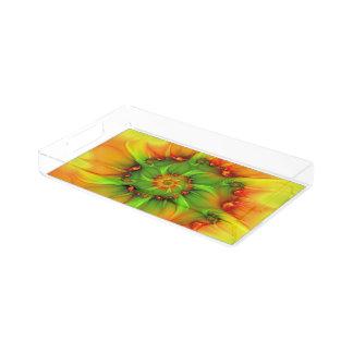 Heißes Sommer-Grün-orange abstraktes buntes Acryl Tablett