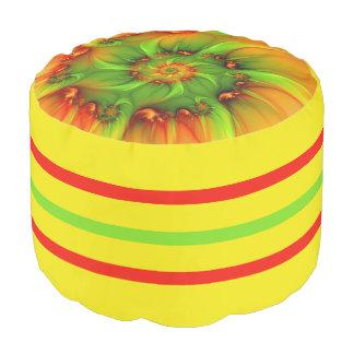 Heißes Sommer-Grün-orange abstraktes buntes Hocker