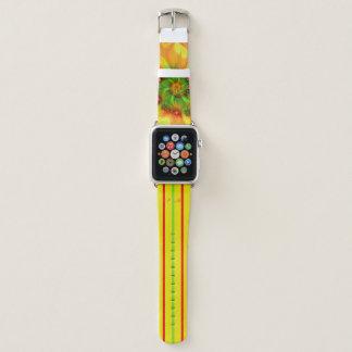 Heißes Sommer-Grün-orange Rot-abstraktes Monogramm Apple Watch Armband