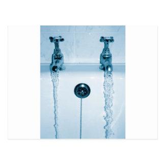 Heißes u. kaltes Wasser, Badzeit, laufende Hähne Postkarte
