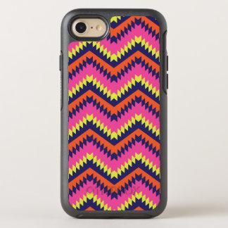 Heißes Zickzack Stammes- Neonmuster-orange Rosa OtterBox Symmetry iPhone 8/7 Hülle