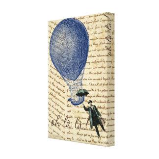 Heißluft-Ballon auf Handschrifts-sich hin- und Leinwanddruck