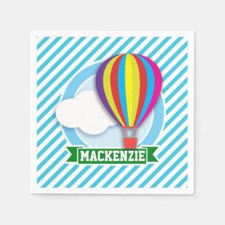 Heißluft-Ballon; Blaue u. weiße Streifen Papierserviette
