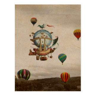 Heißluft-Ballon, La Minerve 1803 Reise in der Art Postkarte