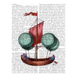 Heißluft-Ballon-Luftschiff mit rotem Segel Postkarten