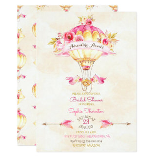 Heißluft-Ballon-Rosa-Goldgelb-Pfeil-Rosen Karte