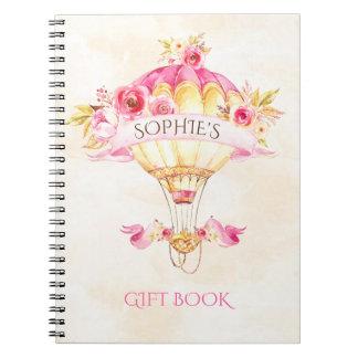 Heißluft-Ballon-Rosa-Goldgelb-Rosen-Geschenk Spiral Notizblock