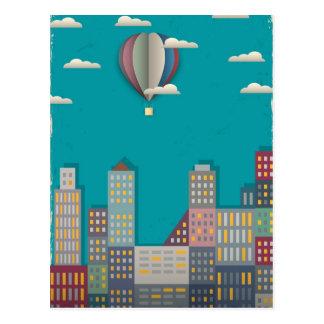 Heißluft-Ballon-Stadtbild Postkarte