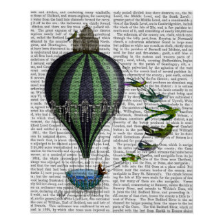 Heißluft-Ballon und Vögel Poster