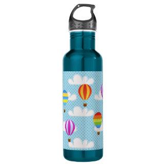 Heißluft-Ballone im bewölkten Dotty Himmel Trinkflaschen