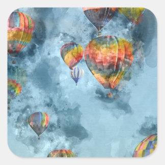 Heißluft-Ballone Quadratischer Aufkleber