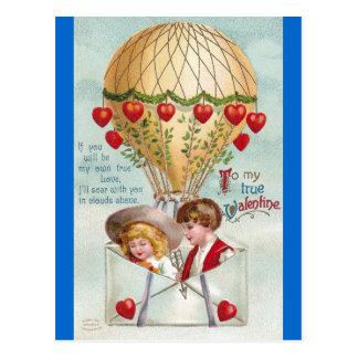 Heißluft-BallonVintager Valentine Postkarte