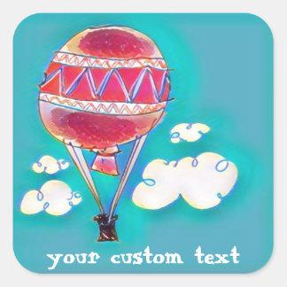 Heißluft baloon Cartoon-Artillustration Quadratischer Aufkleber