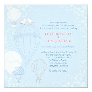 Heißluft steigt Frühlings-Baby-Blau-Hochzeit im Quadratische 13,3 Cm Einladungskarte