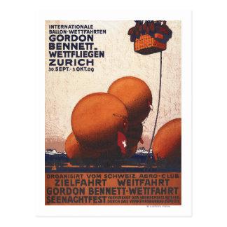 Heißluftballon-Rennen-Plakat Gordons Bennett Postkarte