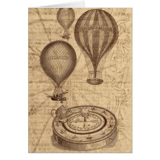 Heißluftballone - Vintages Reise steampunk Grußkarte