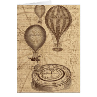 Heißluftballone - Vintages Reise steampunk Karte