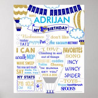 Heißluftballongold und blauer Geburtstag Poster