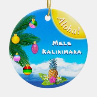 Heitre Mele Kalikimaka Verzierungen, 2 mit Seiten Keramik Ornament