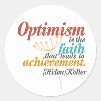 Helen Keller-Optimismus-Zitat Runder Aufkleber