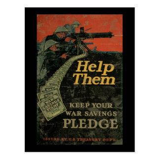 Helfen Sie ihnen, Ihre Kriegs-Sparungs-Bürgschaft Postkarte