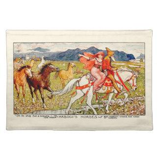 Helga wählt ihr Pferd Stofftischset