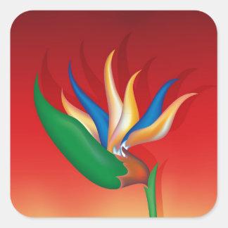 Heliconia Blume Quadratischer Aufkleber