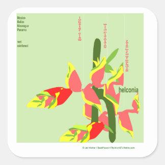 Heliconia Quadratischer Aufkleber