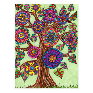 Hell blühender Baum des Lebens Postkarte