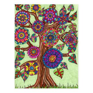 Hell blühender Baum des Lebens Postkarten