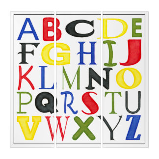 Hell farbige Buchstaben durch Megan Meagher Triptychon