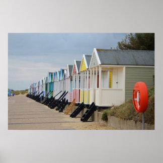 Hell gemalte Strand-Hütten Poster