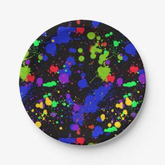 Hell, Imitat Neon, Farben-Spritzer-Muster Pappteller