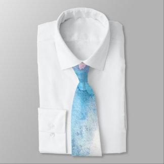 Hellblaue Aquarell-Strand-Ozean-Hochzeit Personalisierte Krawatte