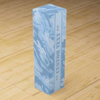 Hellblaue Camouflage mit kundenspezifischem Text Wein-Geschenkverpackung