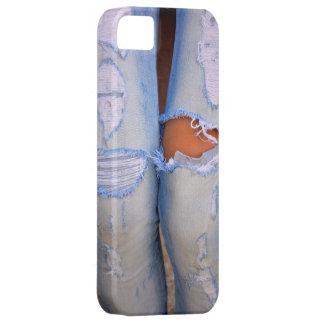 hellblaue Damen-Jeans zerissen mit Löchern, iPhone 5 Hülle