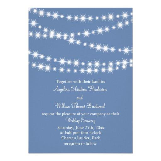 Hellblaue Funkeln beleuchten Hochzeits-Einladung