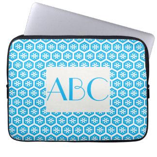 Hellblaue gemusterte mit Monogramm Laptop-Hülse Laptopschutzhülle