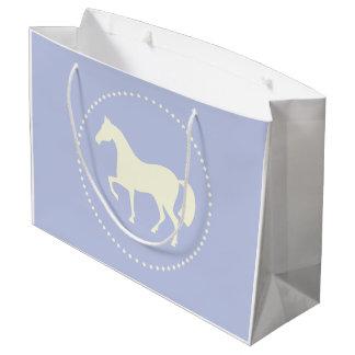 Hellblaue Pferde-/Pony-Silhouettegeschenktasche Große Geschenktüte