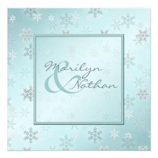 Hellblaue Schneeflocken die Einladung Wedding