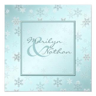 Hellblaue Schneeflocken, die Einladung Wedding