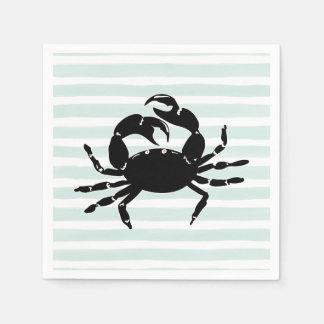 Hellblaue Streifen-Silhouette-nautischkrabbe Papierservietten