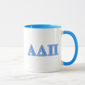 Hellblaue und dunkelblaue Buchstaben Alphadeltapus Tasse