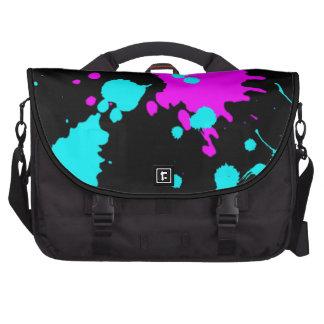 Hellblaue und lila Farbe Splats Laptoptasche